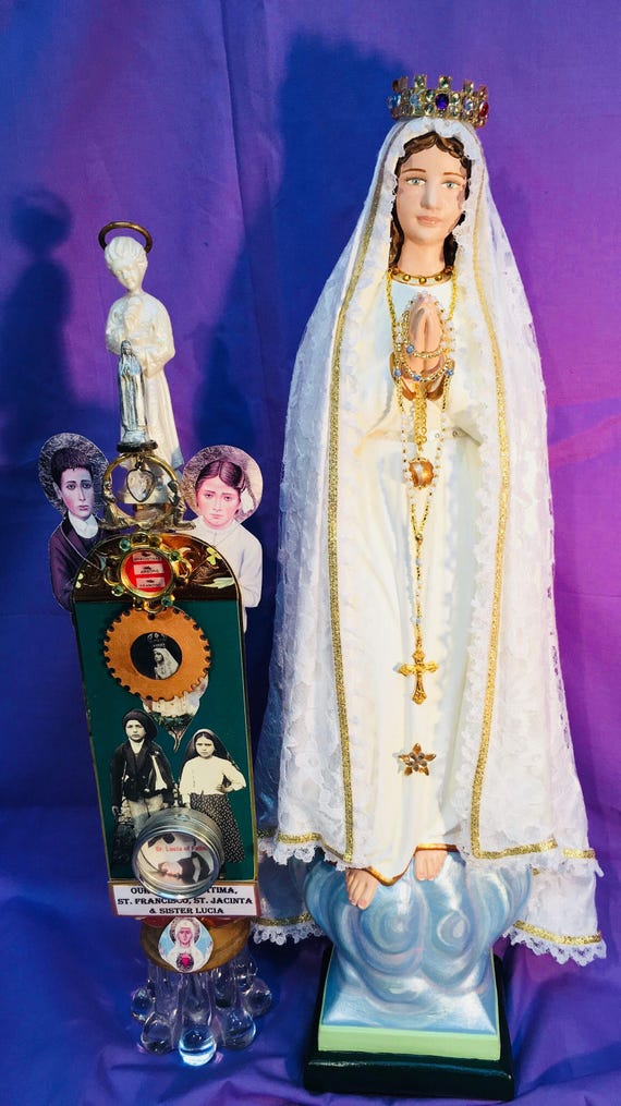 """Our Lady of Fatima 18"""" Patronage: The Holy Rosary and for Purity of Mind, Heart, Body and Soul"""