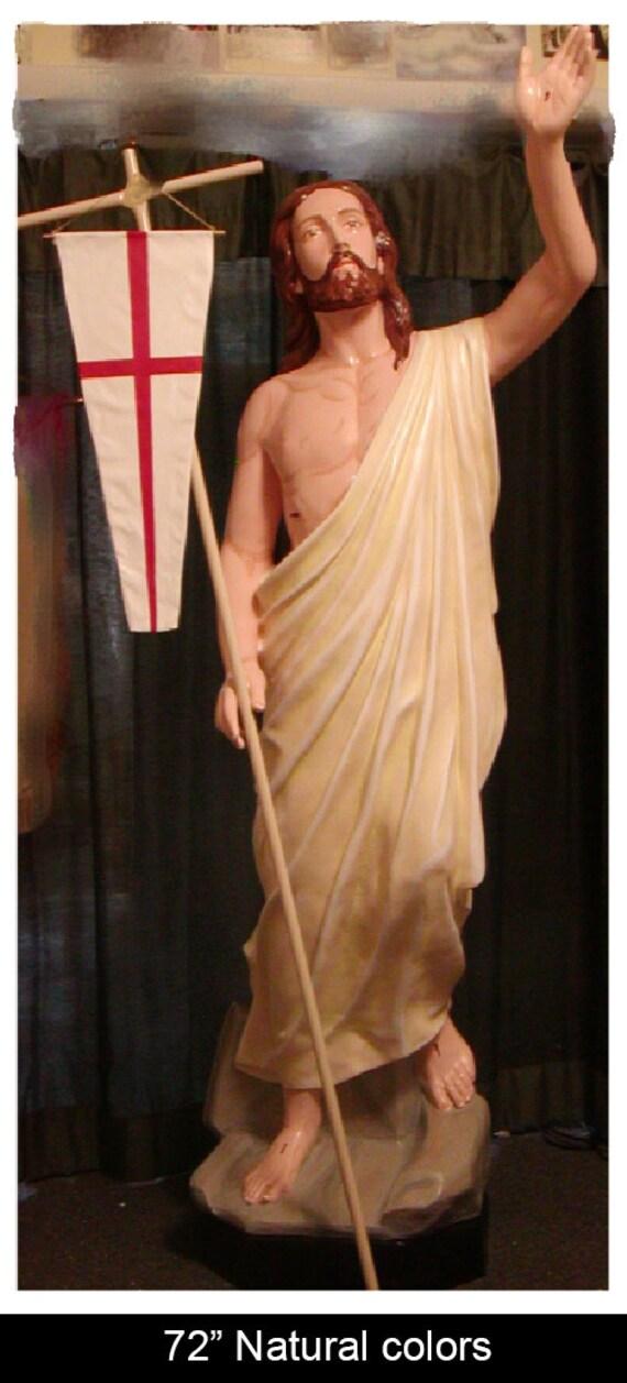 "Jesus Risen Ascending 72"" Fiberglass statue"