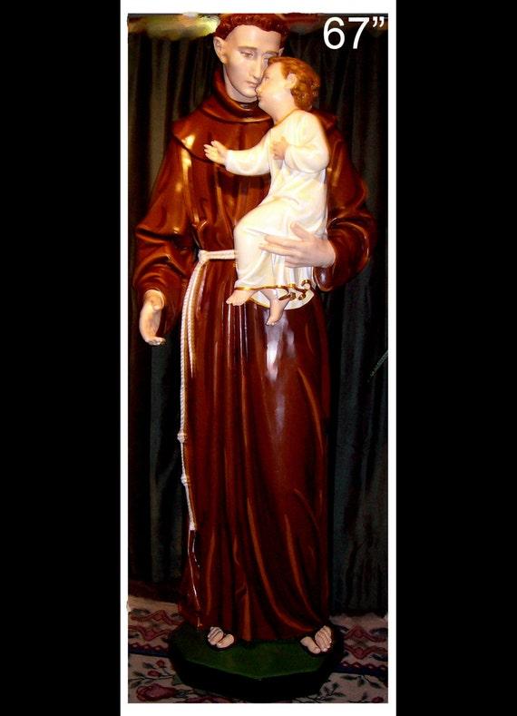 "St. Anthony of Padua and the Child Jesus 67"" Fiberglass Catholic Franciscan Statue"