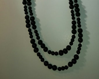 "Black Glass Statement Necklace  adjustable 48"" strand"