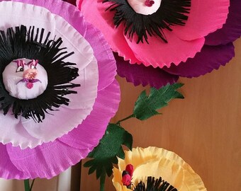 Set of 3 Free standing poppies Alice in Wonderland flowers with faces, Shower Giant Flowers, window display, huge giant flowers, photo booth