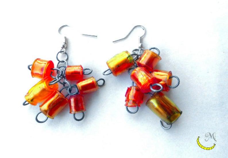 Beaded dangling earrings of Upcycled plastic handmade beads
