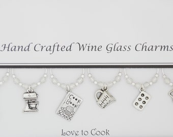 Love to Cook Themed Set of 6 Wine Glass Charms