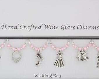 Wedding Day Themed Set of 6 Wine Glass Charms
