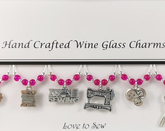 Love to Sew Themed Set of 6 Wine Glass Charms