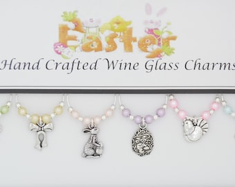 Easter Themed Set of 6 Wine Glass Charms