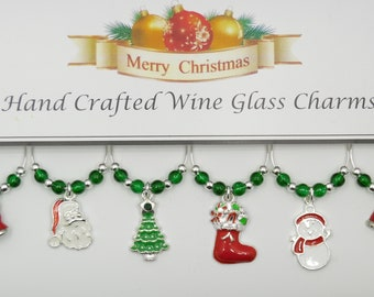 Christmas Silver and Enamel Set of 6 Wine Glass Charms