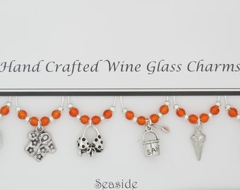 Seaside Themed Set of 6 Wine Glass Charms