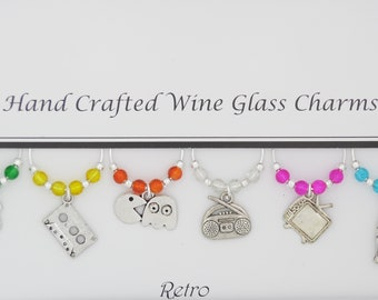 Retro 80's Themed Set of 6 Wine Glass Charms