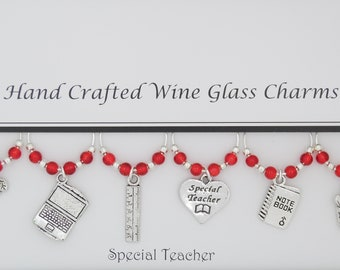 Special Teacher Themed Set of 6 Wine Glass Charms