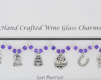 Wedding Just Married Themed Set of 6 Wine Glass Charms