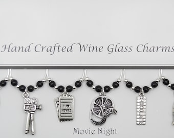 Movie Night Themed Set of 6 Wine Glass Charms