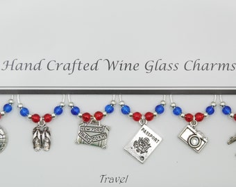Travel Themed Set of 6 Wine Glass Charms