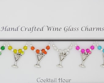 Cocktail Hour Themed Set of 6 Wine Glass Charms