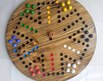 """4/6 player Extra large marble Wahoo , 1"""" marble 4/6 player wahoo board,Wahoo game board, Extra large round 4/6 player aggravation"""