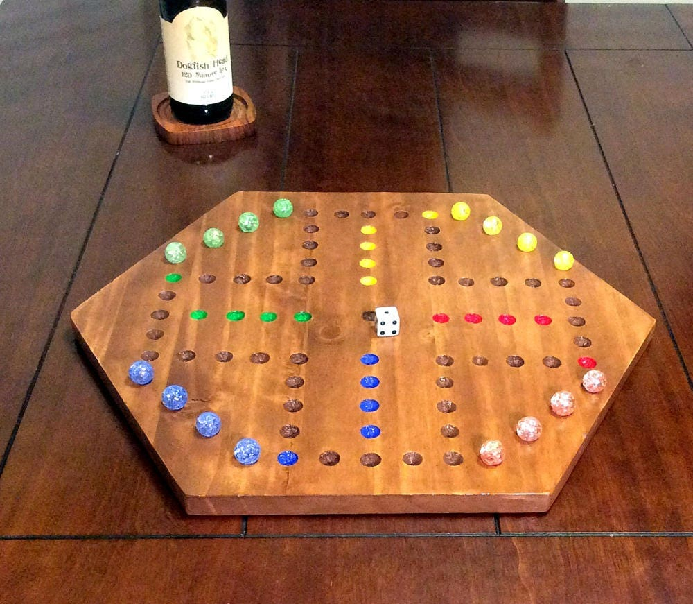 Hexagon 4 Player Wahoo Board Aggravation Game Board Marble Etsy