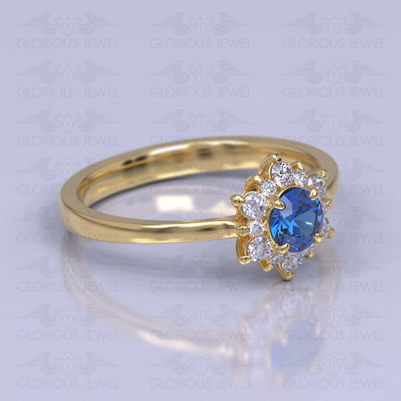 Rings White gold Flower ring Jewelry Marriage Custom made Yellow gold Engagement ring Promise ring Wedding ring Silver 925 Bridal