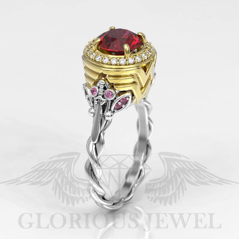 Wonder woman inspired ring Marriage ring Bridal Marvel ring Super hero ring Gift for her Custom made jewelry