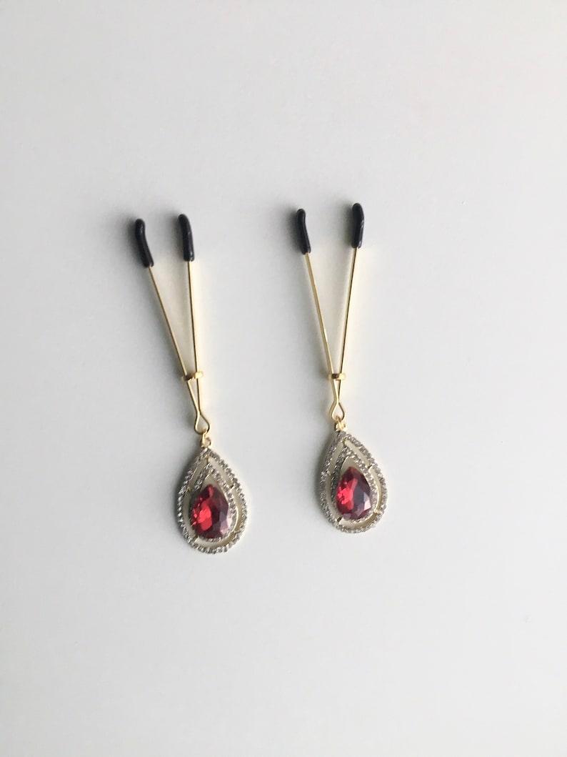 Nipple clamps,sexy tweezer set of 2 Non piercing nipple tweezers with crystals pendants,nipple jewellery,BDSM clamps,unisex,unisex jewellery