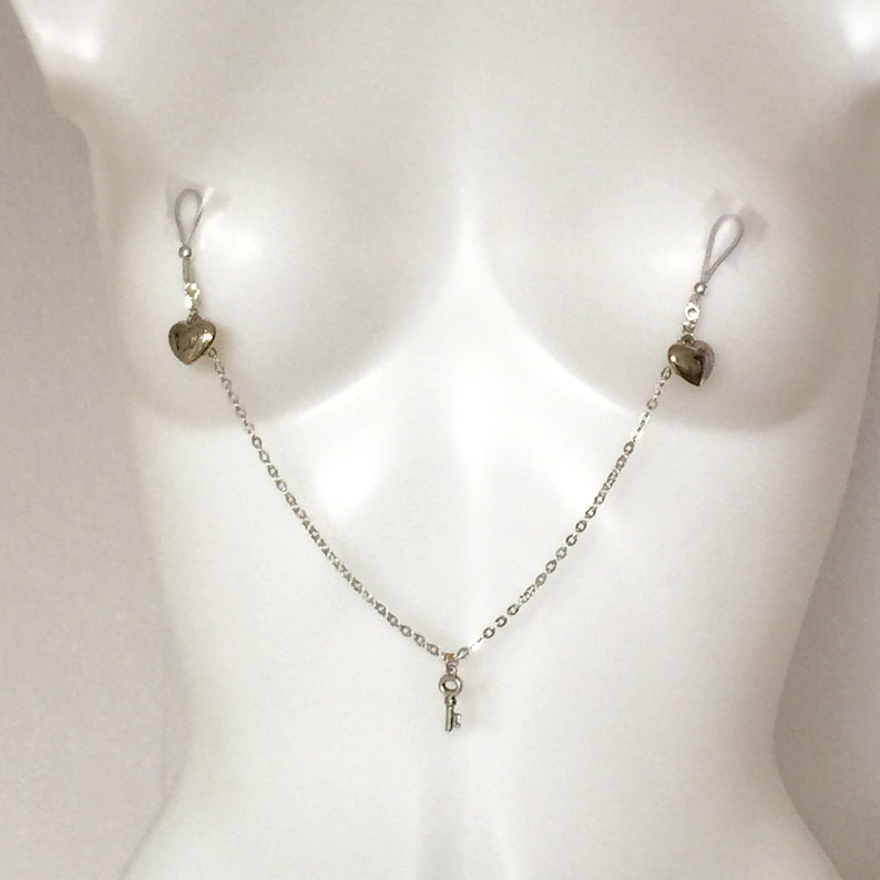 Nipple clamps with chain non pierced nipple jewellery body image 0