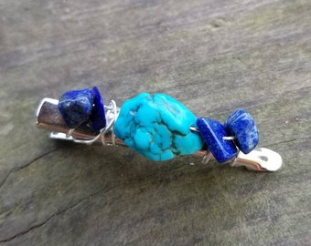Turquoise and Lapis Lazuli Alligator Hair Barrette Clip for Intuition, Enhanced Cosmic Connection, and Wisdom
