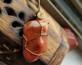 Brecciated Red Jasper Necklace of Vitality and Grounding