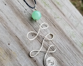 Green Aventurine Unalome Necklace for Prosperity, Good Luck, and Creativity