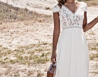 Boho long dress with lace, beach dress, beach wedding