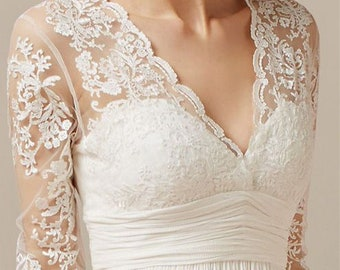 Wedding dress with lace, knee length