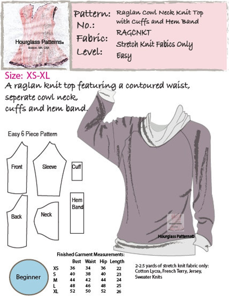 893d6317 Hourglass Patterns©: Raglan Cowl Neck Knit Top with Cuffs and | Etsy