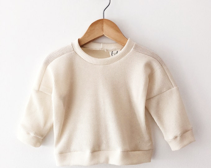 Cream waffle drop sleeve sweater