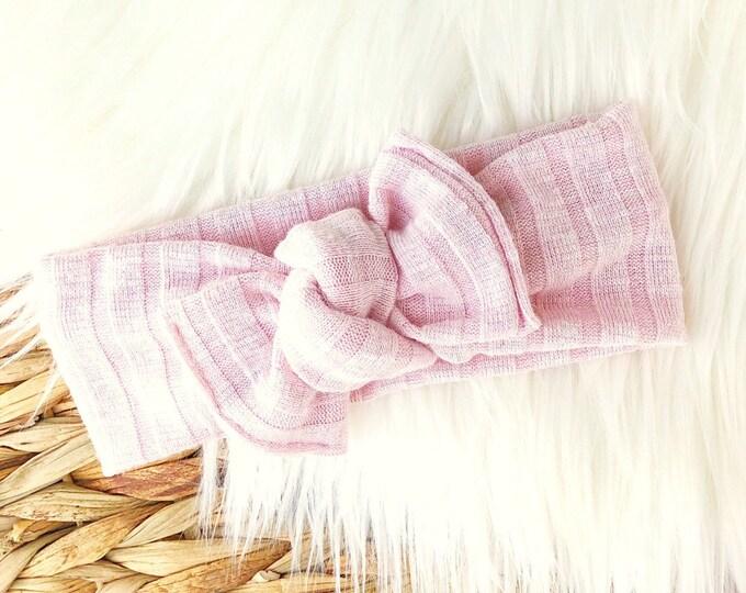 Pastel pink rib Tie-on