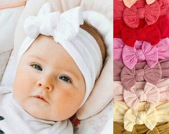 Baby Bows Girls Hair Bows Baby Headband Set Nylon Headband Stretch Headband newborn hair bow Newborn Headbands Mini Bows