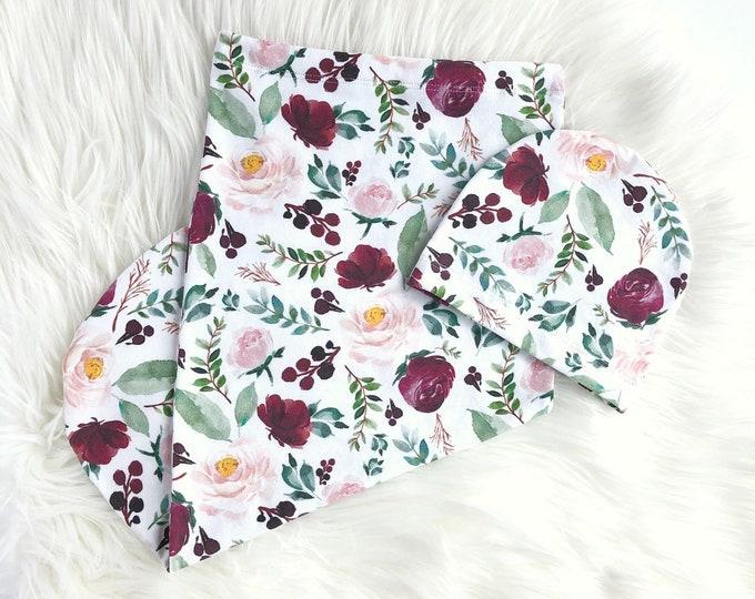 Deep floral // Swaddle set