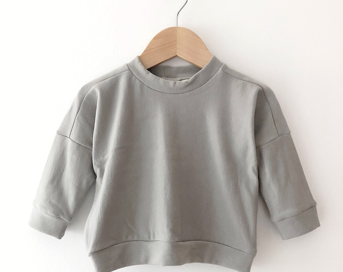 baby clothing, baby clothes, baby sweater, minimalist baby, baby boy clothes, baby girl clothes, baby boy gift. Grey drop sleeve sweater