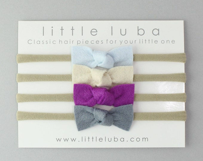 Set of 4 // Mini knot felt bows