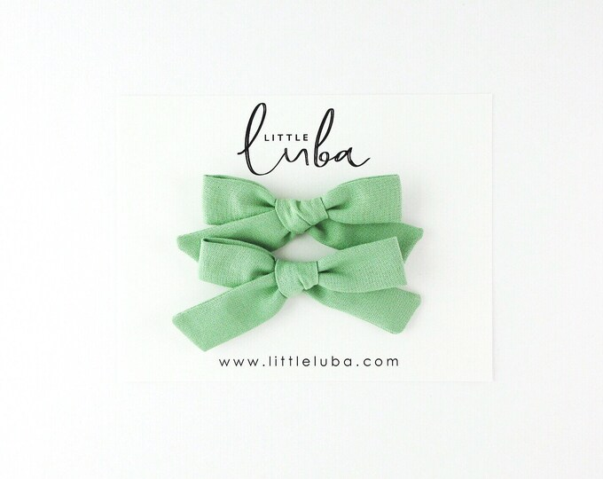 GREEN Schoolgirls Bows // Pigtail Set