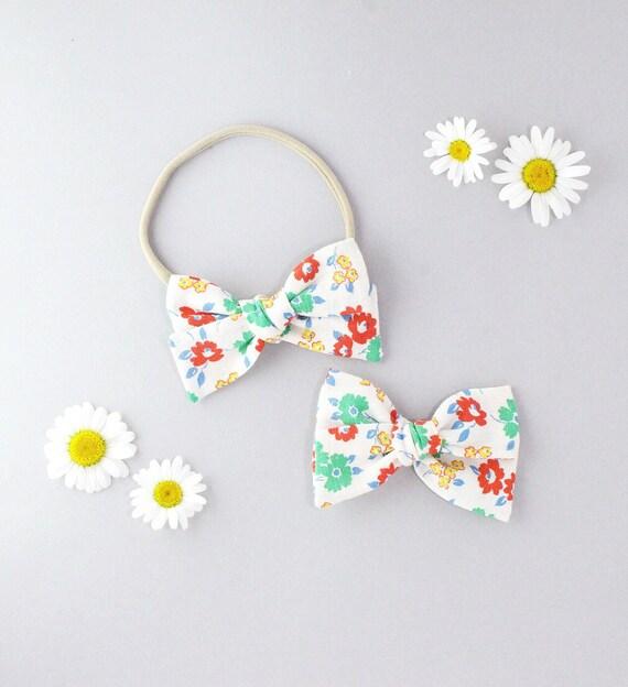 Linen floral // Sailor bow