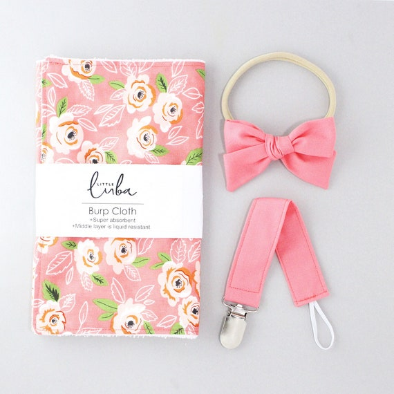Coral floral // Baby gift set