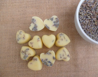 Pack of 10 Mini Bath Melt Body Butter Hearts with Lavender Flowers. Cocoa Butter. Shea Butter. Moistursing. Relaxing