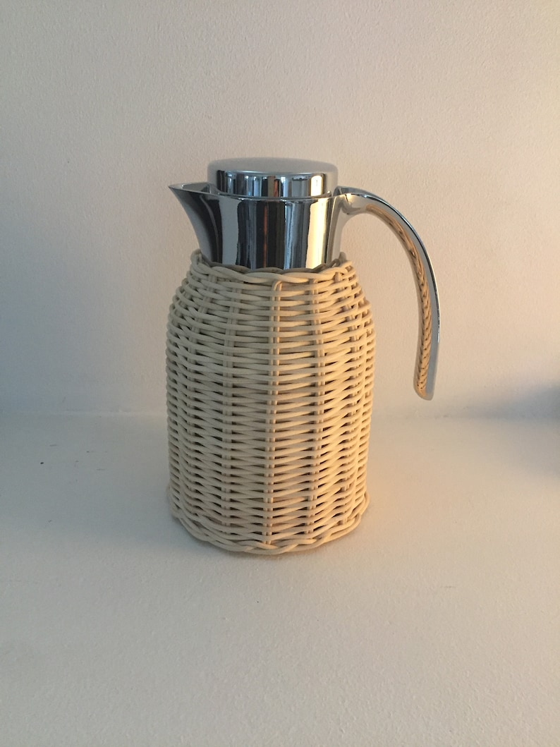 Woven rattan covered insulated pitcher image 0