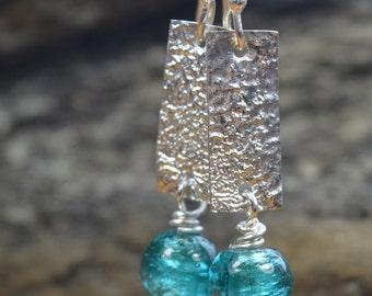 sterling silver drop  earrings | silver drop earrings with turquoise | beaded earrings | textured silver earrings | hand forged earrings
