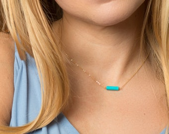 Gold Necklace Gift for Her - Dainty Turquoise Necklace - Simple Jewelry Gift For Mothers, Sisters, Best Friends