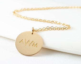Monogram Necklace - Gold Monogram - Small Monogram Necklace - Sterling silver Gold Fill or Rose Gold Fill