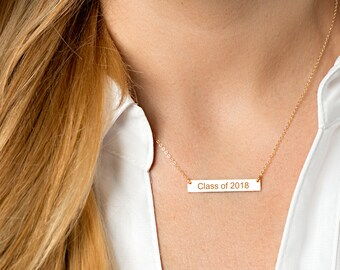 Graduation Gift - Bar Necklace - Graduation gift for her - Gift for best friend - Graduation jewelry - Class of 2018