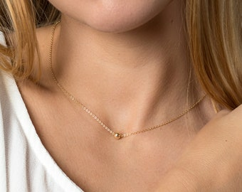 Gold circle necklace - ultra dainty necklace - gold ball necklace - simple everyday necklace