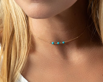 Simple Turquoise Choker - Minimal Gold Choker - Gemstone Necklace - Gold Fill - Rose Gold Fill - Sterling Silver