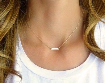 Extra small bar necklace - silver gold or rose gold - initial necklace - monogram bar