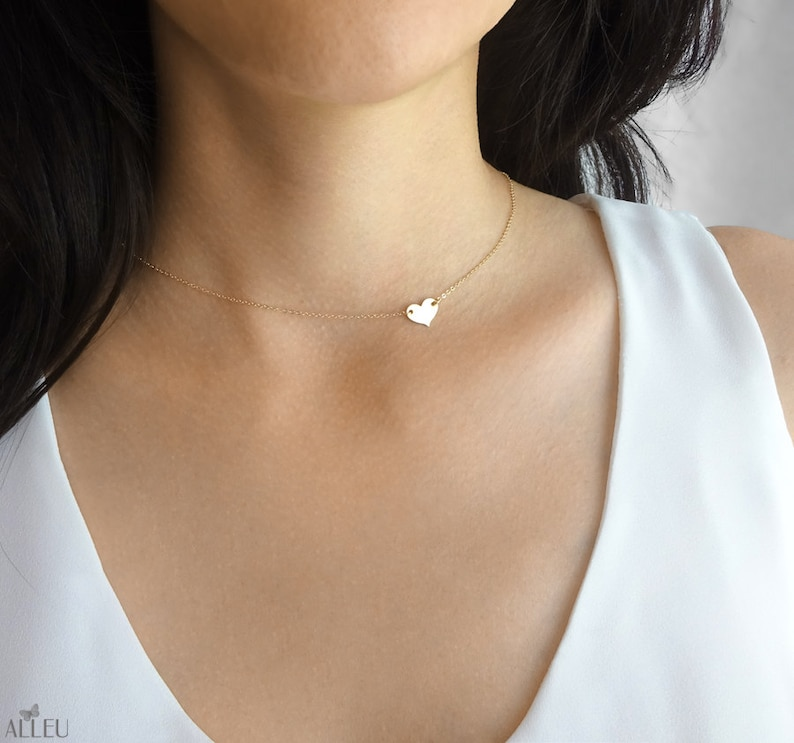 Small heart necklace  sideways heart necklace  delicate image 0