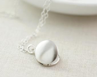 Simple locket necklace - tiny locket pendant necklace - minimalist jewelry